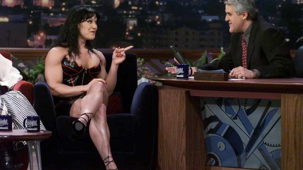 Chyna, aka Joan Marie Laurer, chats to Jay Leno. (Getty)