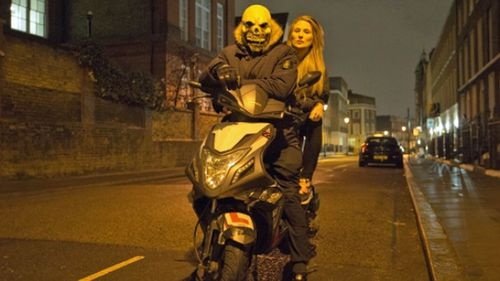 BBC reporter Livvy Haydock and a moped gang member. (Photo: BBC).