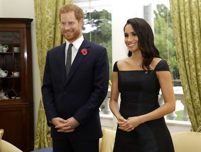 Prince Harry, Duke of Sussex, and Meghan, Duchess of Sussex, meet with Prime Minister of New Zealand Jacinda Ardern during a call by the Prime Minister at Government House on October 28, 2018 in Wellington, New Zealand