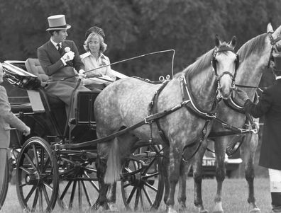 Prince Charles with Davina Sheffield in a carriage at Windsor during their time together.