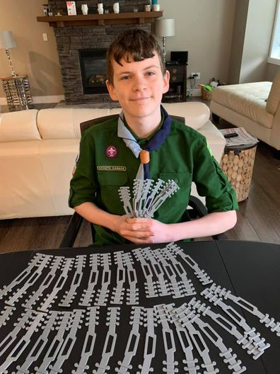 Boy Scout Quinn used his 3D printer to help out healthcare workers.