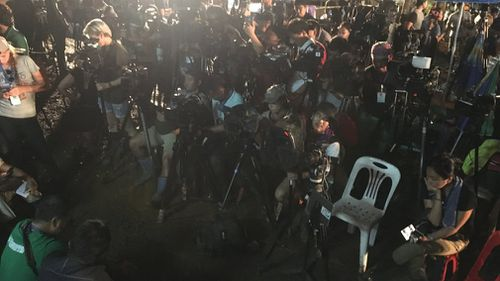 Scores of media was waiting for news of a rescue. Picture: Twitter