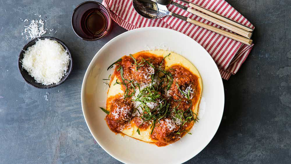 Luke Mangan's meatballs with fontina mash
