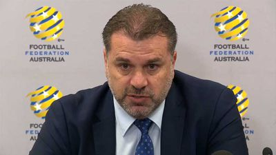 Teary Ange Postecoglou thanks family for their support after stepping down as Socceroos coach