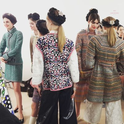 <p>The model line-up backstage.</p>