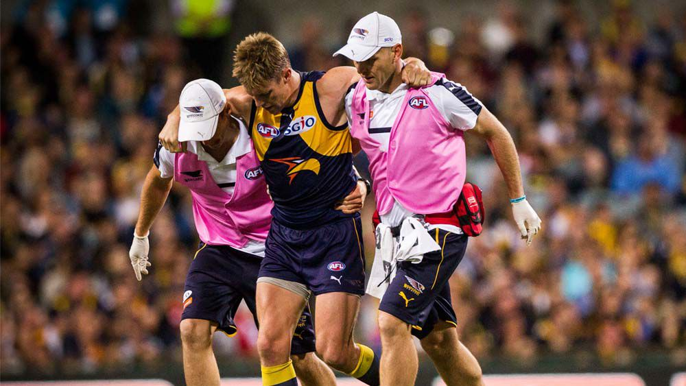 Sam Mitchell of the West Coast Eagles injured