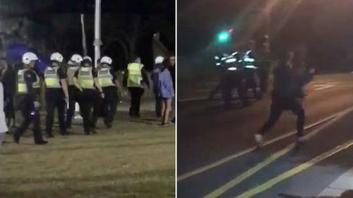 There have been fresh scenes of violence at the seaside town of Rye on Victoria's Mornington Peninsula, with police officers forced to subdue schoolies with pepper spray.