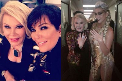 Celeb posse! <br/><br/>She may have made a living mocking the rich and famous, but Joan was loved by many good-humoured celebs.<br/><br/>Here she's pictured on the <I>Fashion Police</I> with Kris Jenner and backstage with Kesha. <br/><br/>