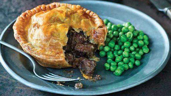 Kangaroo mushroom and dark ale pie