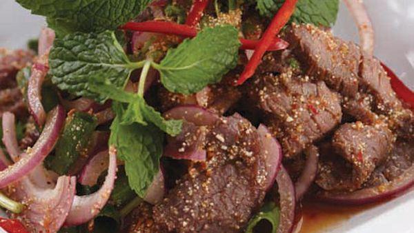 Yum nam tok salad (spicy beef salad)