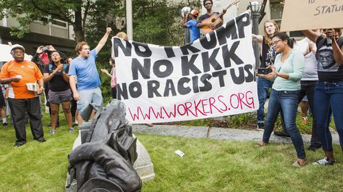 Protesters at the rally against racism. (AP)