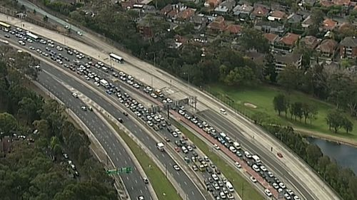 Traffic was backed up to the Lane Cove Tunnel due to a crash in the Harbour tunnel.