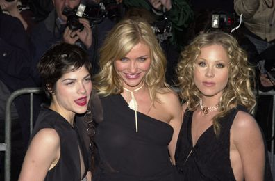 Cameron Diaz with The Sweetest Things co-star Selma Blair and Christina Applegate.