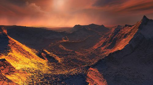 This image shows an artist's impression of the surface of Barnard's star b, a cold Super-Earth discovered orbiting Barnard's star 6 light-years away.
