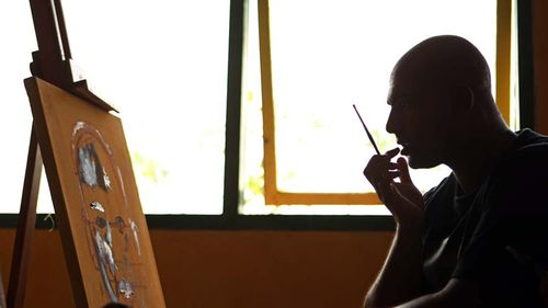 Sukumaran has turned to painting as part of his rehabilitation process.