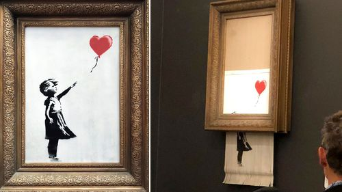 Moments after the image was sold at auction an alarm sounded and the picture went through a shredder.