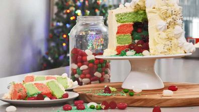 Jane de Graaff's Christmas lolly filled layer cake hack