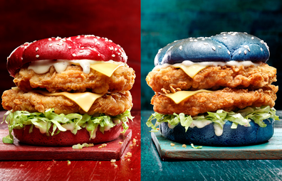 KFC Australia State of Origin 'Origin Recipe Burger' in blue or maroon