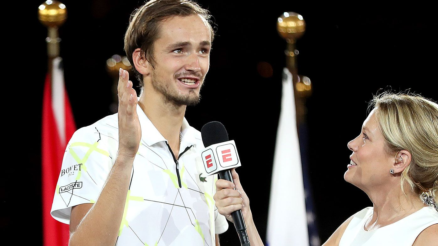 Finalist Daniil Medvedev (L) of Russia is interviewed