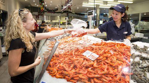 Australian Christmas seafood prawns