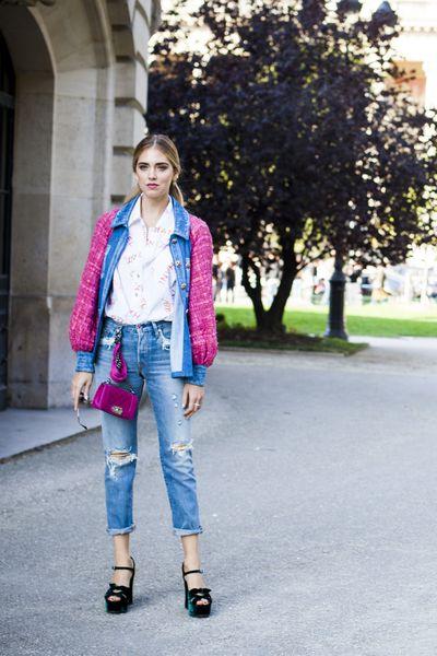 """Chiara Ferragni in Chanel after the <a href=""""http://honey.nine.com.au/2016/10/05/08/07/chanel-runway-hair-tie-2017"""" target=""""_blank"""">Chanel</a>, Paris Fashion Week"""