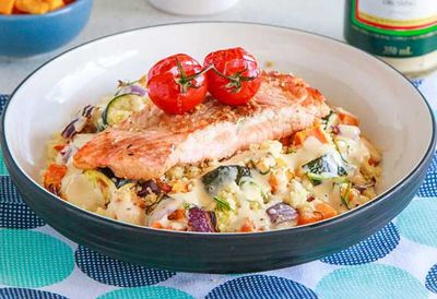"Recipe: <a href=""http://kitchen.nine.com.au/2016/05/05/10/05/salmon-with-warm-roast-vegetable-couscous-salad"" target=""_top"">Salmon with warm roast vegetable couscous salad</a>"