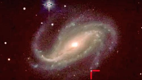 Supernova 2016gkg, between the two red lines, in the galaxy NGC 613, 80 million light-years from Earth. (Image: Carnegie Institution for Science/Las Campinas Observatory/UC Santa Cruz/UC Berkeley).