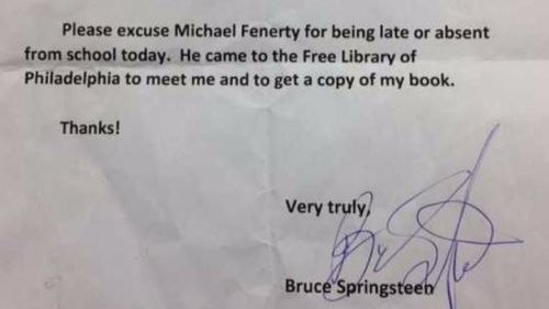 Bruce Springsteen signs student's absent note to get him out of trouble