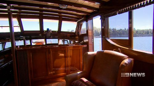 Made entirely from wood, the white and dark tan livery of the Halverson was a familiar sight on the waters of Sydney from the mid 1920s. (9NEWS)