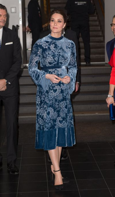 Duchess of Cambridge Kate Middleton wearing Erdem to a reception to celebrate Swedish culture at the Fotografiska Gallery on January 31, 2018