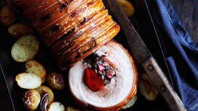 Roast pork with rhubarb and rosemary jelly