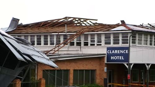 Maclean's Clarence Hotel had its roof ripped off by the gale force winds. (9NEWS)
