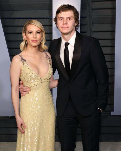 Emma Roberts, Evan Peters, Vanity Fair Oscar Party, 2018