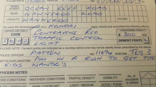 WA driver caught running red light 'in a rush' to get Nando's