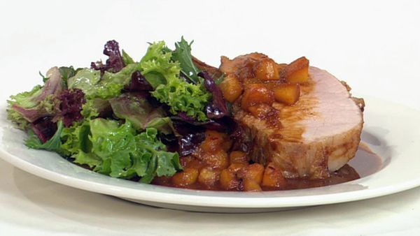 Pork rack with spiced peaches