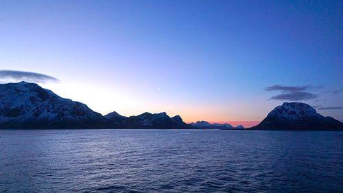 "The famous ""blue light"" of the Norwegian arctic coastline. (9NEWS/Jessica Braithwaite)"