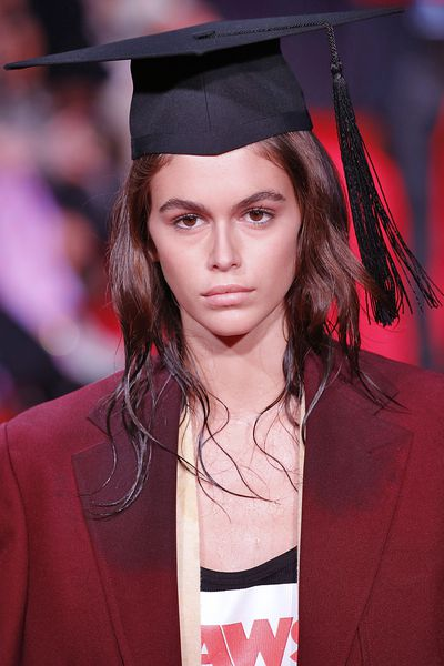 Kaia Gerber walks the runway for the Calvin Klein Collection Ready to Wear Spring/Summer 2019 fashion show at NYFW18. Images: Getty
