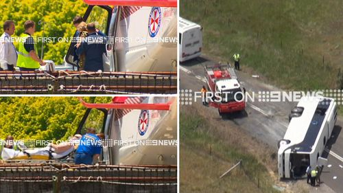 Twelve people were taken to hospital following the crash. (9NEWS)