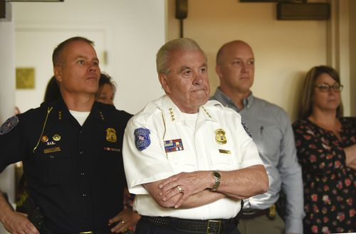 Warren Police Department officials listen in during Tanaya's first appearance via video link.