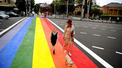 The famed-but-short-lived rainbow crossing on Sydney's Oxford Street. It was ripped up over night in April 2013 after just one bright month because of safety concerns on the busy city street. (AAP)
