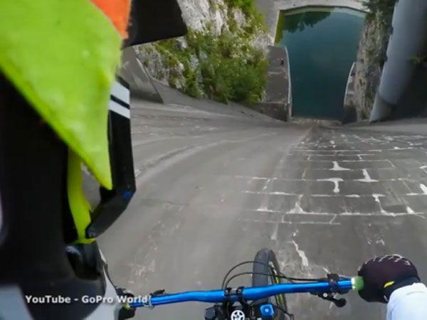 Mountain biker conquers 60m dam wall