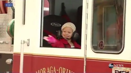 US firefighters escort six-year-old girl to final chemotherapy session