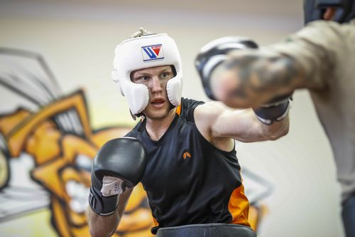 Horn spars at his gym in Stretton, Brisbane, yesterday. Picture: AAP