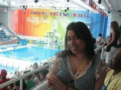 Sabrina Jansz, who has lung cancer, at the Beijing Olympics.