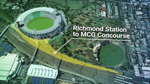 A concourse will be built at the MCG, while Richmond station will get a makeover. (9NEWS)