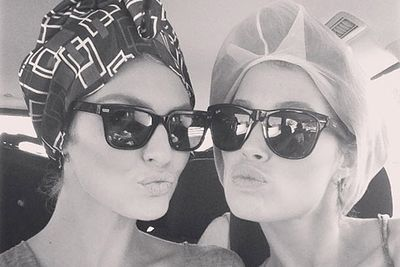 Looking much more like sisters than business buddies, Victoria's Secret angels Candice Swanepoel and Doutzen Kroes shared this shady snap while shooting in St Barts. <br/><br/><i>Image: Instagram @angelscandice</i>