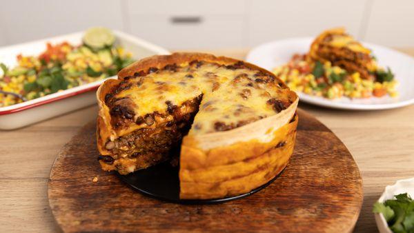 Tortilla chilli con carne cake is full of fun layers