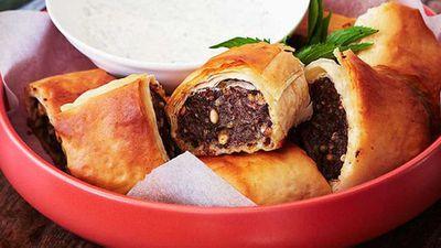"<a href=""http://kitchen.nine.com.au/2016/05/16/15/47/greekstyle-lamb-sausage-rolls"" target=""_top"">Greek-style lamb sausage rolls</a> recipe"
