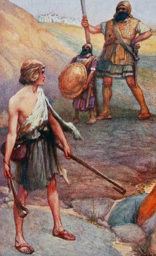 A depiction of the Biblical stoush between Israelite David and Philistine Goliath.