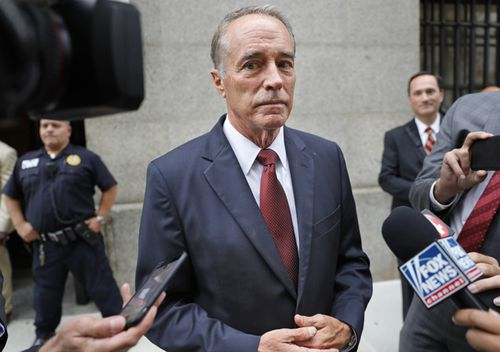 US Republican Chris Collins speaks to reporters as he leaves the courthouse after a pretrial hearing in his insider-trading case, in New York.